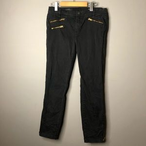 J crew toothpick size 30 black ankle zip jeans